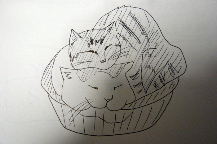 かご猫 イラスト しろ&茶とら