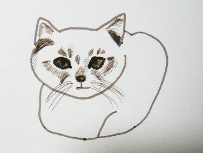 かご猫 イラスト くろ幼い頃